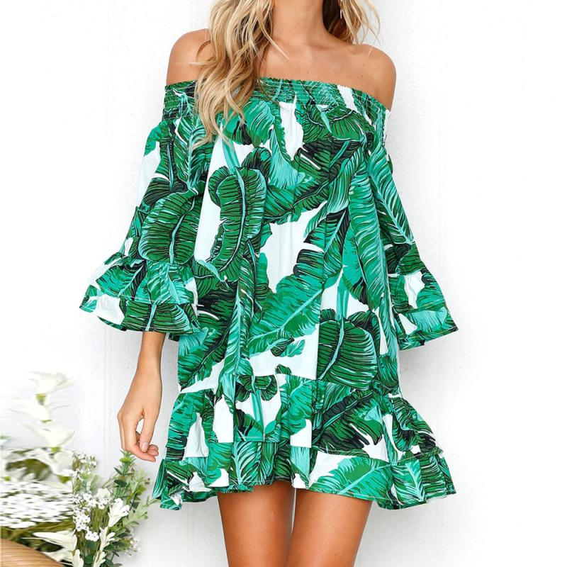 Women Green Leaves Printing Dress Sexy Shoulder Ruffles Dresses Three Quarter Length Sleeve Loose Beach Dress #BF