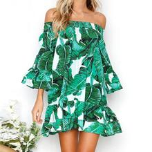 Buy Women Green Leaves Printing Dress Sexy Shoulder Ruffles Dresses Three Quarter Length Sleeve Loose Beach Dress #BF for $11.05 in AliExpress store