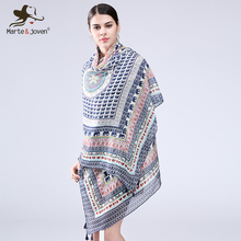 [Marte&Joven] Retro Elephant Print Scarves and Wraps for Women National Wind style Flowers Printed Circle Oversized Long Shawls