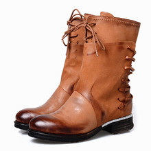 Female Winter Autumn Womens Motorcycle Boots Round Toe Cowboy Boots Lace Up Genuine Leather Combat Ankle Boots For Women