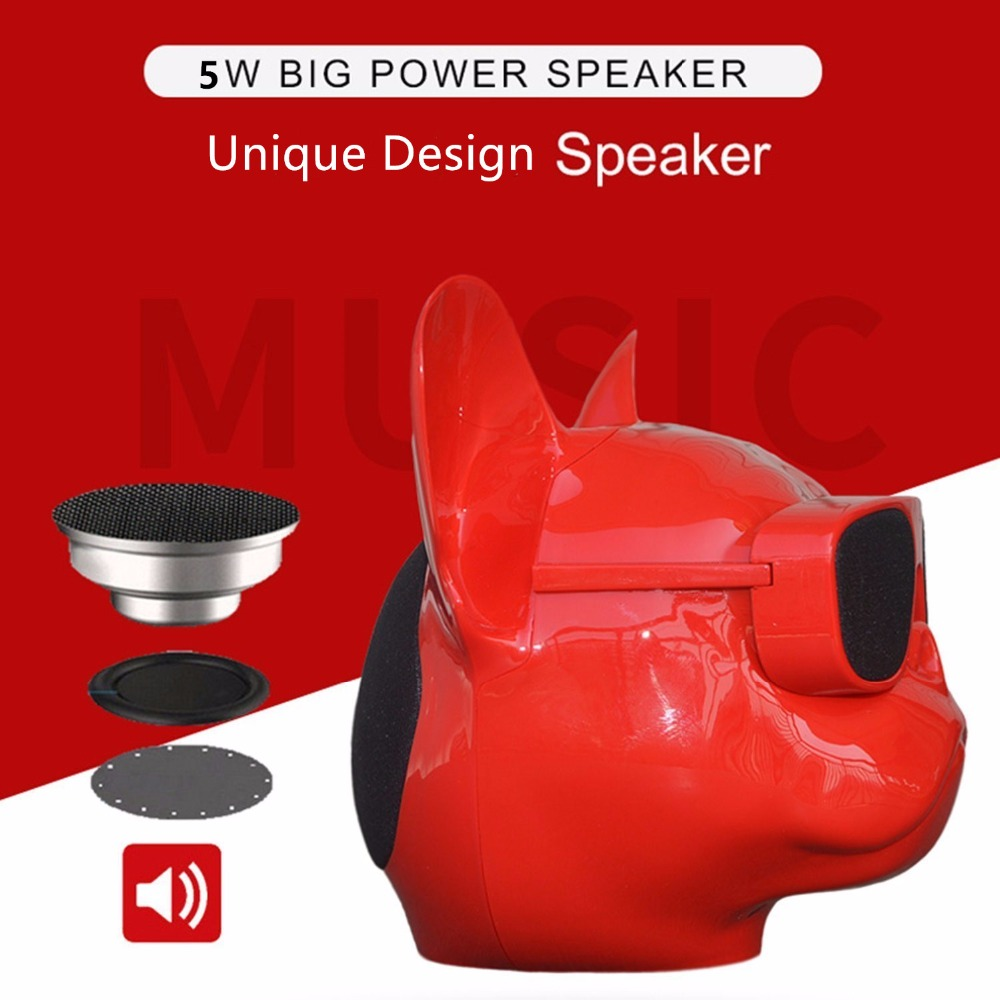 Mini Bulldog Portable Wireless Speaker With Bluetooth 4.1 Cellphone Sound Box FM Music Player(Operation mode Keystroke)