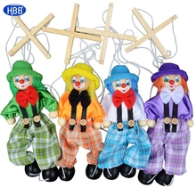 2016 New Funny Toy Pull String Puppet Clown Wooden Marionette Toy Joint Activity Doll Vintage MAR10_35