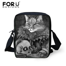 FORUDESIGNS 3D Mini Women Messenger Bags,Ladies Kitty Cat Prints Crossbody Bag for Girls,Woman Small Travel Causal Shoulder Bags(China)
