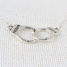 Silver plated simple necklace couples summer new fashion alloy handcuffs pendant necklace