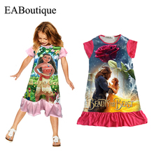 EABoutique cotton fabric girls dress cartoon princess Moana Trolls double printed ruffles style kids clothing for 4-10 year old