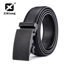 XHTANG Men's Genuine Leather Belt Ratchet Elegant Automatic Buckle Belts for Men Brand Black Strap Jeans Casual Gift 3.5cm Width(China)