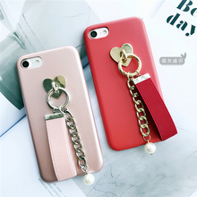 Retro PU leather case For iphone 6 6s 7 6plus 6splus 7 Plus Chain Pearl Charm soft back cover Wrist Strap Coque Fundas