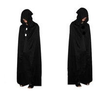 Death cloak big black spot Halloween costume devil demon with hood black cloak cloak of a god of death