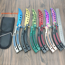 New in 2016 CS GO Counter Strike claw Karambit Knife practice folding Knife butterfly trainer game knife dull blade no edge tool