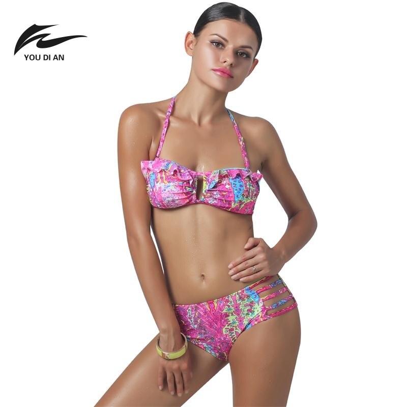 YOUDIAN Fancy Sexy Bikini Sets Swimsuit Print Split Bikini Womens Cute Lotus Swimsuits Sexy Women Beachwear for Christmas gifts<br><br>Aliexpress