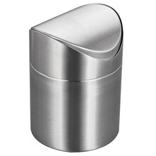 Mini Waste Bin Stainless Steel Rubbish Bin Swing Bucket Table Dustbin Desktop Garbage Can(China)