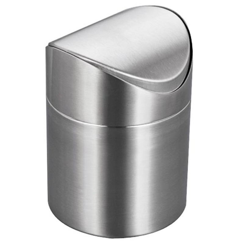 Mini Waste Bin Stainless Steel Rubbish Bin Swing Bucket Table Dustbin Desktop Garbage Can(China (Mainland))