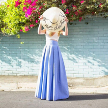 2017 Spring Summer Style Long Skirts Womens Lolita Floor Length Pleated Taffeta Skirt High Waist Draped Maxi Skirt Custom Made