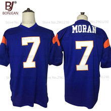 BONJEAN New Cheap Alex Moran 7 Blue Mountain State Goats Movie America Football Jerseys Stitched Blue White Mens Shirts(China)