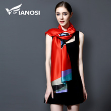 [VIANOSI] 2017 100% Silk Scraf Luxury Bandana Women hijab Print Scarf Long Shawls Brand Women Scarves Summer