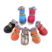 4 Pcs/set Fashion Dogs Winter Snow Boots Leather Dog Shoes For Chihuahua Waterproof Anti Slip Pet Shoes For Small Dogs - 5 Sizes