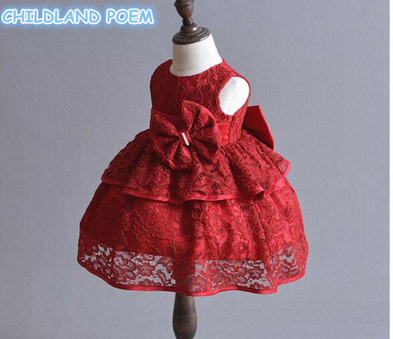 Baby Girl Dresses Bow Party Wedding 1 Year Birthday Dress Vestido 2018 Infant Toddler Christening Gowns Baptism Baby Dress <br>