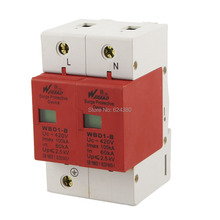 2P 2 Pole 100KA 385V AC House Power Security Surge Protector Protection Lightning Arrester Device