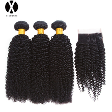 X-Exements Hair Brazilian Hair Kinky Curly Wave 3 Bundles in Extensions Human Hair Bundles Non Remy Hair Natural Black(China)