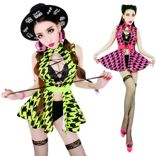2017 New Arrival woman Fashion houndstooth ds costume sexy dj female singer performance wear cutout bodysuit dress stage dance