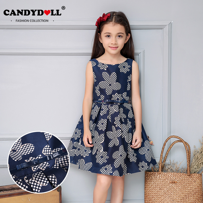 2017 childrens clothing girls dress new European and American fashion jacquard sleeveless dress princess dress children dress<br>