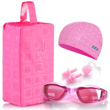 Waterproof  swimming cap men and women swimming goggles Swim cap ear protection swimming hat Nose clip Earplugs