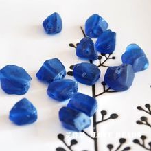 natural blue recycled glass nuggets loose beads loose bead bracelet necklace earrings making jewelry craft findings(China)