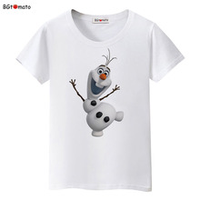 BGtomato Famous cartoon Lovely Olaf 3D T-shirt women super cute popular cartoon shirts cool tops Brand good quality casual tees