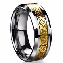 Fine jewelry stainless steel Dragon Ring Mens Jewelry Wedding Band male ring for lovers Valentine present/gift(China)