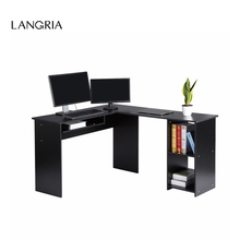 LANGRIA Large L-Shaped Computer Desk with Mute Sliding Keyboard Tray and 2-Bookshelf Corner Table for Home Office Workstation