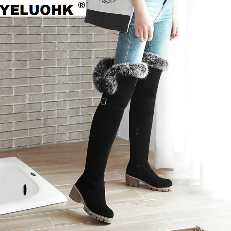 New Winter Boots For Women Plush Women High Boots Fashion Thick Heel Snow Boots Women High Heel Shoes With Fur Pumps<br>