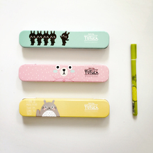 H19 Cute Kawaii Totoro Tutula Bear Metal Tin Pencil Case Pen Box Storage Case Student Stationery School Office Supply(China)