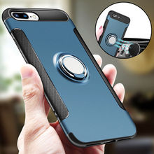 New for IPhone 7 6 6s Plus Case Luxury Shockproof Hybrid Rubber Silicone Back Hard Armor Case Cover Stick To Magnetic Car Stand