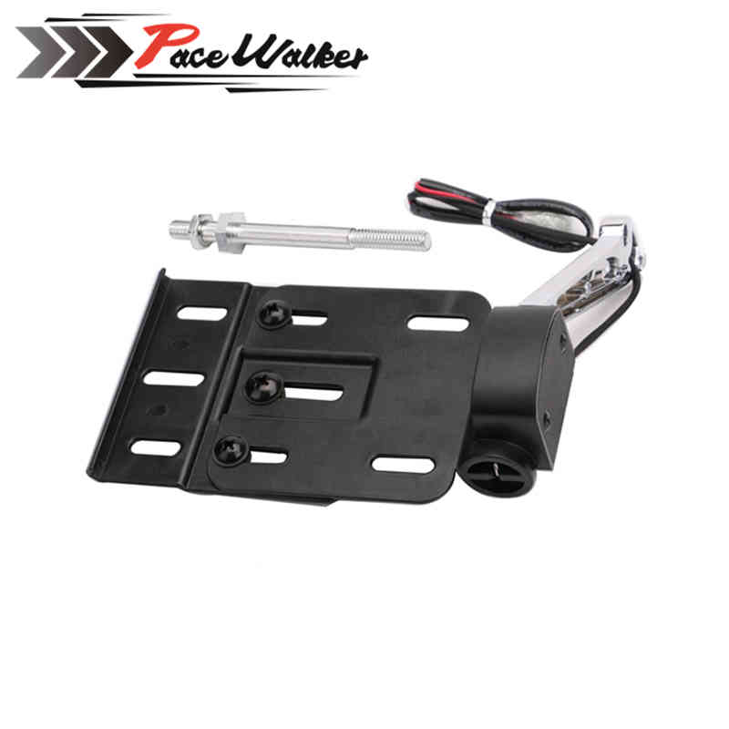 FREE SHIPPING Motorcycle Folding LED Light Side Mount License Plate Holder For Dyna Fat boy Sportster 883 1200 XL 07-16<br>