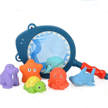 Cute1 Sets Fishing Toys Network Bag Pick up Cat&Fish Kids Toy Swimming Classes Summer Play Water Bath Doll Water Spray Bath toys(China)