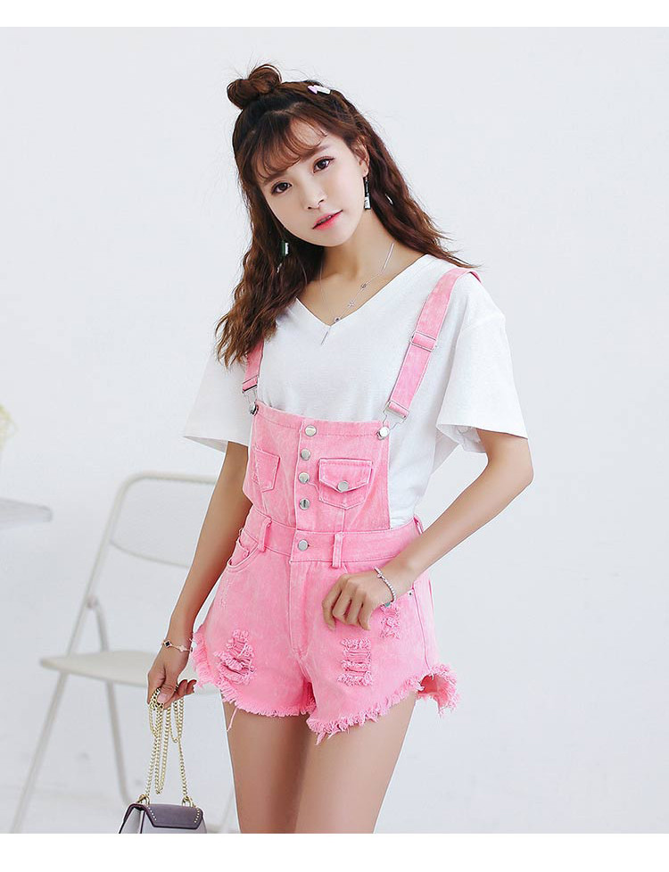 Denim Bibs Schoolgirl 2018 Spring New Loose Korean Thin Thin hole Flashes Fringe Shorts (15)