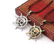12 Pcs/Lot Vintage Anime One Piece Luffy Skull Pendant Necklace Hot Rope Chain Necklace Pendant Famous Anime Gift Wholesale(China)