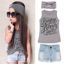 3PCS Baby Kid Girls Clothing Set Trendy Summer Gray Letter Printed Vest Tops+Denim Short Pants+Headband Outfits Clothes