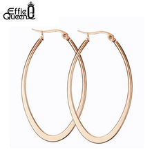 Effie Queen Rose Gold-color Titanium Steel Hoop Earrings for Women High Polished Women Party Jewelry DTE18