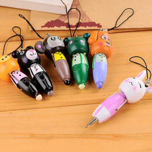 New 10pcs Cute Cartoon Animal Keychain Wood Ballpoint Pens Key Ring Children Kid Gift Prize Mobile Phone Pendant Pen Key Chain