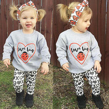 Autumn and winter models Fashion 100% Cotton Baby Girls Kids Toddler Long Sleeve Shirt Tops+XO Pants+Headband 3Pcs Outfit Set(China)