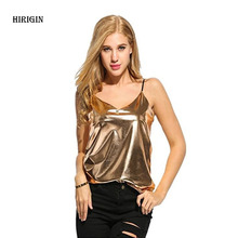 2017 Women Tanks Camis Summer Vest Tops Summer Sexy Silver Golden Sleeveless Shirt Casual Tank Tops T-Shirt Fashion(China)