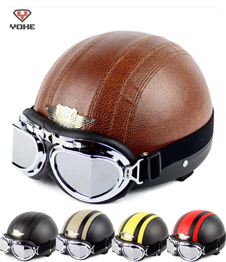Fashion Retro Halley style YOHE Motorcycle helmet summer motorbike helmets YH-998 made of ABS send goggles for men women 7 color<br><br>Aliexpress