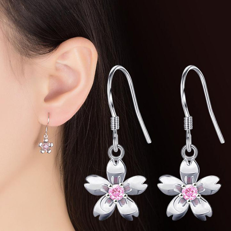 creative plum blossom ball earrings|clip on earrings|ear cuffs|dangle earrings|earring jackets|hoop earrings|stud earrings|European and American fashion sharp ears ladies ears