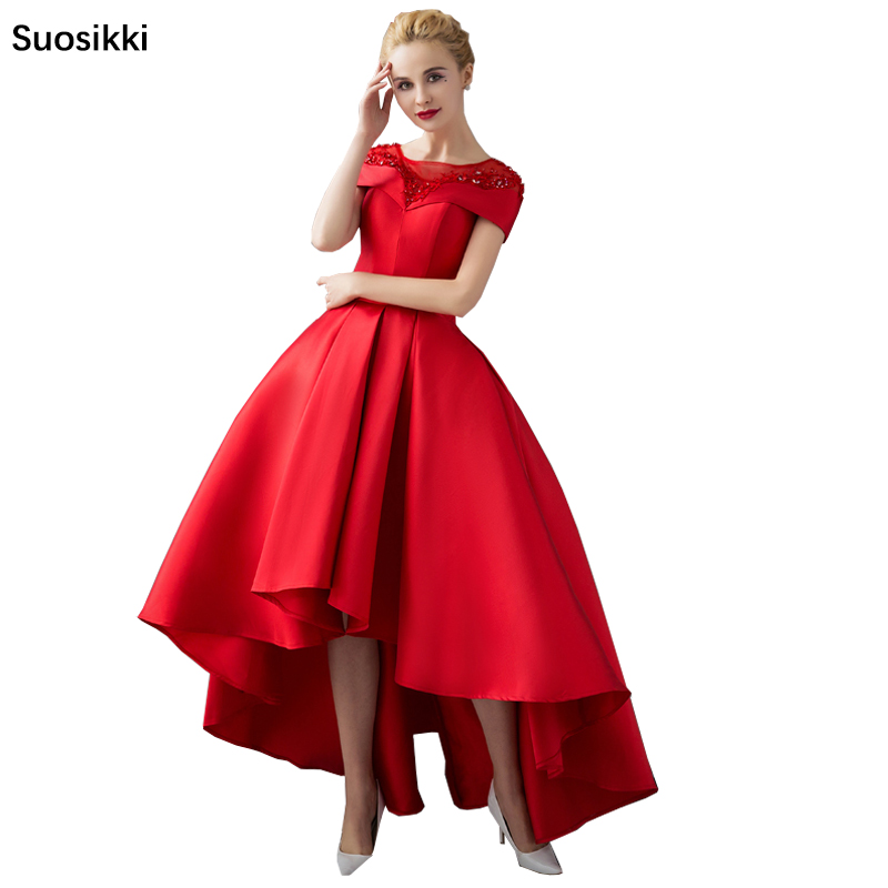 Asymmetrical Short Sleeve Ball Gown Evening Dresses with Jacket 2018 Luxury Prom Formal Dress Evening Gown Robe De Soiree(China)