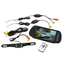 AUTO LCD Monitor Car Monitor 7 inch Rearview Mirror + Wireless Rear Vision Camera(China)