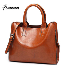 Buy Women's Hand Bag 2018 High Oil Waxing Female leather handbags Casual lady tote big Shoulder Messenger bags Bolsos Mujer for $18.82 in AliExpress store