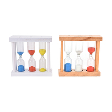 New 1/3/5Min Wood Frame Glass Sand Sandglass Hourglass Timer Clock Time Decor Gift 90x30x87mm