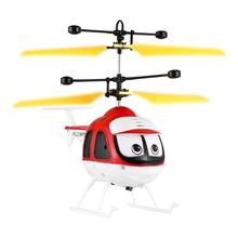 Kids Cartoon Smart Induction Flying Toys Glow in the Dark Dual Mode RC Helicopter Drone Model Plane Toys Children Gift(China)