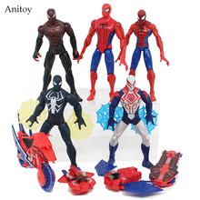 Anime Spiderman Rush With Web with LED Light PVC Figure Collectible Model Toy 6-16cm KT4026(China)